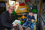 NO FEE PICTURES<br /> 26/3/16 Children nationwide will soon have the opportunity to meet their favourite Irish authors in a new and unique setting. Announced today, the partnership between children's publisher Little Island Books and BUMBLEance, The Children's National Ambulance Service will see children's authors visiting schools, festivals and libraries on board BUMBLEance to read from their work and to meet with children across primary and secondary schools nationwide. <br /> Pictured Zach Kelly aged 5 with Author PJ Lynch  Pictures: Arthur Carron