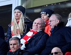 23.02.2019, Allianz Arena, Muenchen, GER, 1. FBL, FC Bayern Muenchen vs Hertha BSC, 23. Runde, im Bild Tribüne Karl-Heinz Rummenigge FC Bayern München Vorstandsvorsitzender (rechts) und Präsident Aufsichtsratsvorsitzender Uli Hoeneß FC Bayern München (links) <br />unzufrieden nachdenklich <br /><br />FC Bayern München FCB vs Hertha BSC Berlin<br />23.02.2019<br /><br />DFL REGULATIONS PROHIBIT ANY USE OF PHOTOGRAPHS AS IMAGE SEQUENCES AND/OR QUASI-VIDEO // during the German Bundesliga 23th round match between FC Bayern Muenchen and Hertha BSC at the Allianz Arena in Muenchen, Germany on 2019/02/23. EXPA Pictures © 2019, PhotoCredit: EXPA/ Eibner-Pressefoto/ Michael Weber<br /> <br /> *****ATTENTION - OUT of GER*****