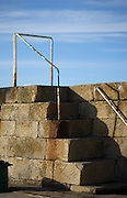 Steps on the breakwater at Howth harbour Dublin