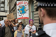Campaigners queue to exercise their democratic right and deliver letters to their Members of Parliament during the week-long protest by climate change activists with Extinction Rebellions campaign to block road junctions and bridges around the capital, on 23rd April 2019, in London England.