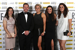 Manchester City Women's Jane Ross (left), Steph Houghton (centre), and Jennifer Beattie (right) with Liverpool Ladies' Caroline Weir (2nd right) with PFA Chairman Ritchie Humphreys