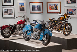 Kiwi Mike Tomas' custom Vindian 1200 cc Vincent in a 1948 Indian Chief frame in the More Mettle - Motorcycles and Art That Never Quit exhibition in the Buffalo Chip Events Center Gallery during the Sturgis Motorcycle Rally. SD, USA. Thursday, August 12, 2021. Photography ©2021 Michael Lichter.