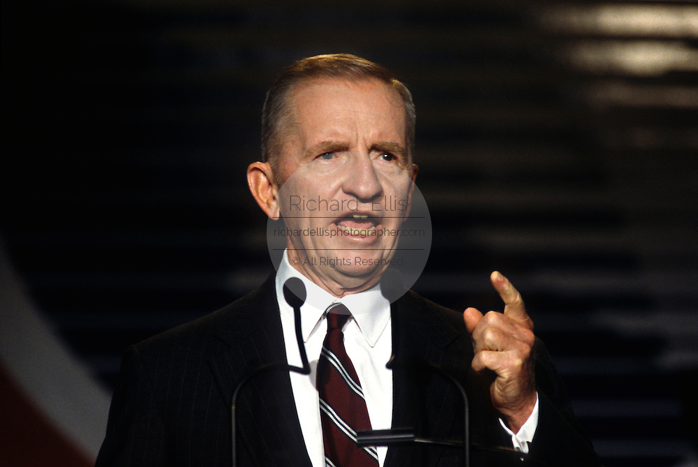Former independent presidential candidate and billionaire Ross Perot addresses the Christian Coalition convention  September 13, 1996 in Washington, DC.