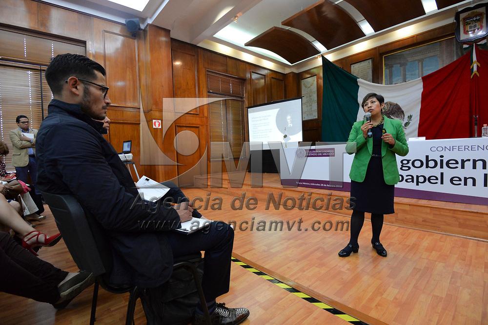 """Toluca, México (Febrero 28, 2018).- Conferencia Magistral """"El Gobierno Municipal y su papel en la agenda 2030"""" organizada por la Contraloría del Poder Legislativo.  Agencia MVT / Crisanta Espinosa."""