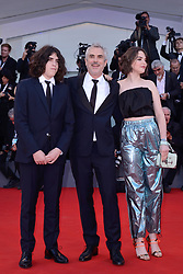 Tess Bu Cuaron, Alfonso Cuaron and Olmo Teodoro Cuaron attending the Roma Premiere as part of the 75th Venice International Film Festival (Mostra) in Venice, Italy on August 30, 2018. Photo by Aurore Marechal/ABACAPRESS.COM
