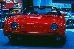 Avanti on display at the Chicago Auto Show, February 2001...The Avanti was built by Studebaker in South Bend Indiana.  The concept for the Avanti was the brainchild of Sherwood Egbert, the President of Studebaker starting in 1961.  The first Avanit was produced in 1963.  The body is fiberglass...This image was electronically scanned from a 35mm transparency.  It may show spots, noise, scratches and other artifacts from that scan.