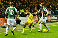 Jimmy Abdou (8) of AFC Wimbledon looks for a way through the Argyle defence during the EFL Sky Bet League 1 match between Plymouth Argyle and AFC Wimbledon at Home Park, Plymouth, England on 13 February 2018. Picture by Graham Hunt.