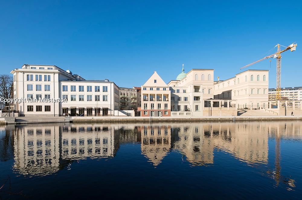 New property development and Museum Barberini on right at Otto Braun Platz Potsdam Germany