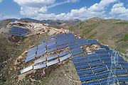 Solar Power and Wind Turbines north of Beijing. China is the world leader in renewable energy.