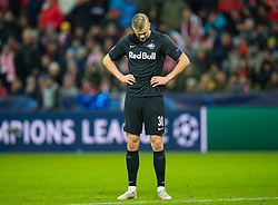 SALZBURG, AUSTRIA - Tuesday, December 10, 2019: FC Salzburg's Erling Braut Håland looks dejected after missing a chance during the final UEFA Champions League Group E match between FC Salzburg and Liverpool FC at the Red Bull Arena. (Pic by David Rawcliffe/Propaganda)
