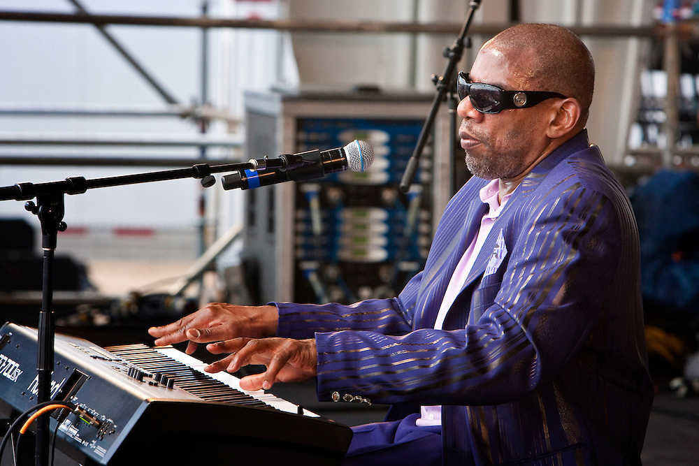New Orleans born singer and pianist Henry Butler performing on the Congo Square stage at the New Orleans Jazz and Heritage Festival at the New Orleans Fair Grounds Race Course in New Orleans, Louisiana, USA, 24 April 2009.