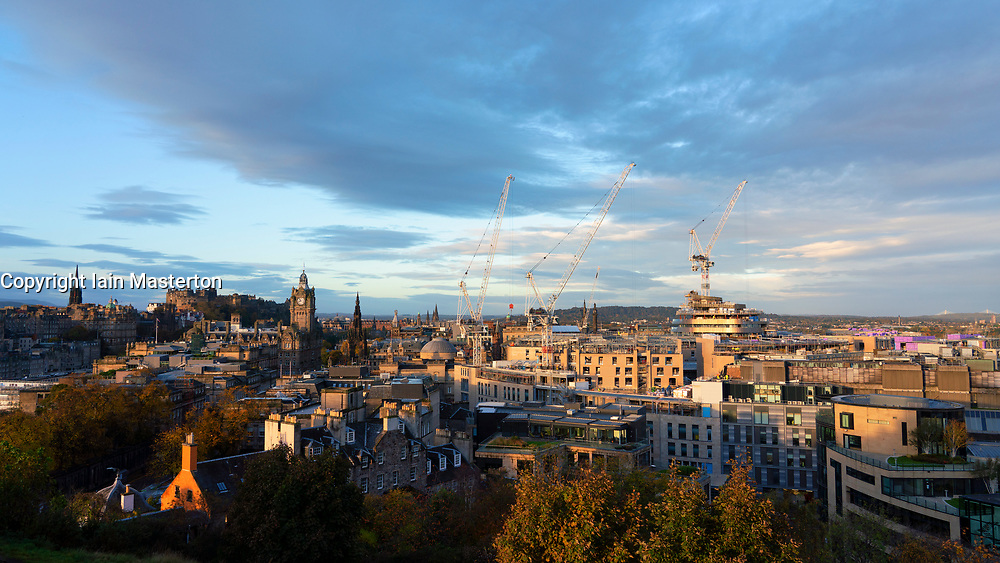 Early morning skyline view of Edinburgh from Calton Hill, Scotland, UK. New St James Quarter property development under construction is visible on the right.
