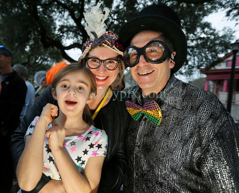 30 January 2016. New Orleans, Louisiana.<br /> Matthew Goldman and family at the mico-Krewe of 'Tit Rex' parade in the Bywater and Marigny. All the floats are scaled down versions of the current parade giant with a shoe box at their base. The theme for this year's parade was 'No Big Deal.' <br /> Photo©; Charlie Varley/varleypix.com