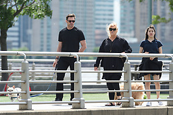 EXCLUSIVE: Hugh Jackman races his daughter while out for a walk with wife Deborra and their dogs in NYC. 26 May 2017 Pictured: Ava Jackman, Hugh Jackman, Deborra Lee Furness. Photo credit: MEGA TheMegaAgency.com +1 888 505 6342
