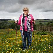 Jane Mott in her garden near Banchory, Aberdeenshire. She has bad hips and has prolonged waiting time for hospital appointments.  Picture Robert Perry for The Times 2nd June 2017