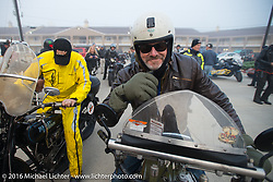Greg McFarland on his 1926 Harley-Davidson JD At the Hampton Inn in Junction City, KS getting ready for the start of Stage 8 of the Motorcycle Cannonball Cross-Country Endurance Run, which on this day ran from Junction City, KS to Burlington, CO., USA. Saturday, September 13, 2014.  Photography ©2014 Michael Lichter.