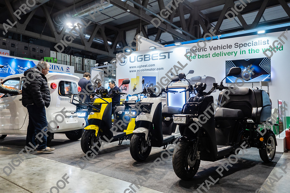 RHO Fieramilano, Milan Italy - November 07, 2019 EICMA Expo. Stand of electric scooters and tricycles specialized for transport and delivery from UGBEST Chinese company in exhibition