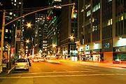 nocturnal midtown street scene New York City