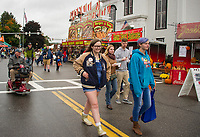 Vendors and Food Trucks lined the streets downtown for Pumpkin Fest on Saturday.  (Karen Bobotas/for the Laconia Daily Sun)