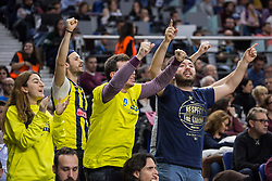 March 2, 2018 - Madrid, Madrid, Spain - Fernerbahce Dogus Istanbul supporters during Fenerbahce Dogus Istanbul victory over Real Madrid (83 - 86) in Turkish Airlines Euroleague regular season game (round 24) celebrated at Wizink Center in Madrid (Spain). March 2nd 2018. (Credit Image: © Juan Carlos Garcia Mate/Pacific Press via ZUMA Wire)