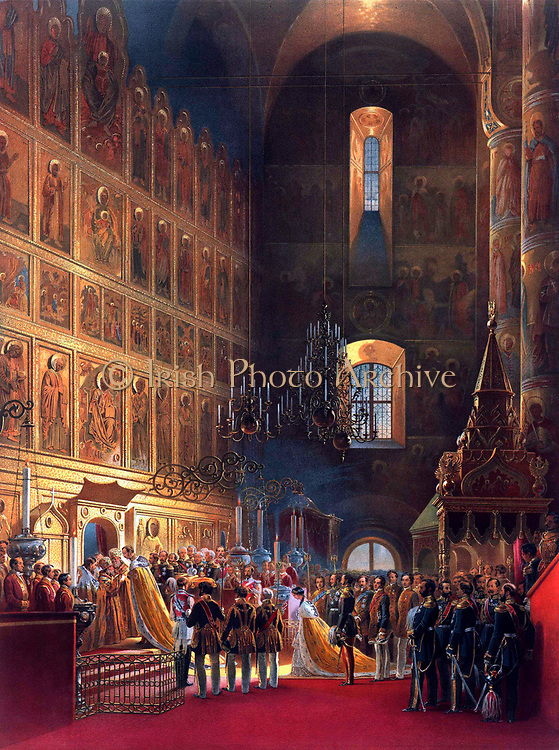 Anointing of Alexander II. during the Coronation Book of Alexander II.  Date 1856