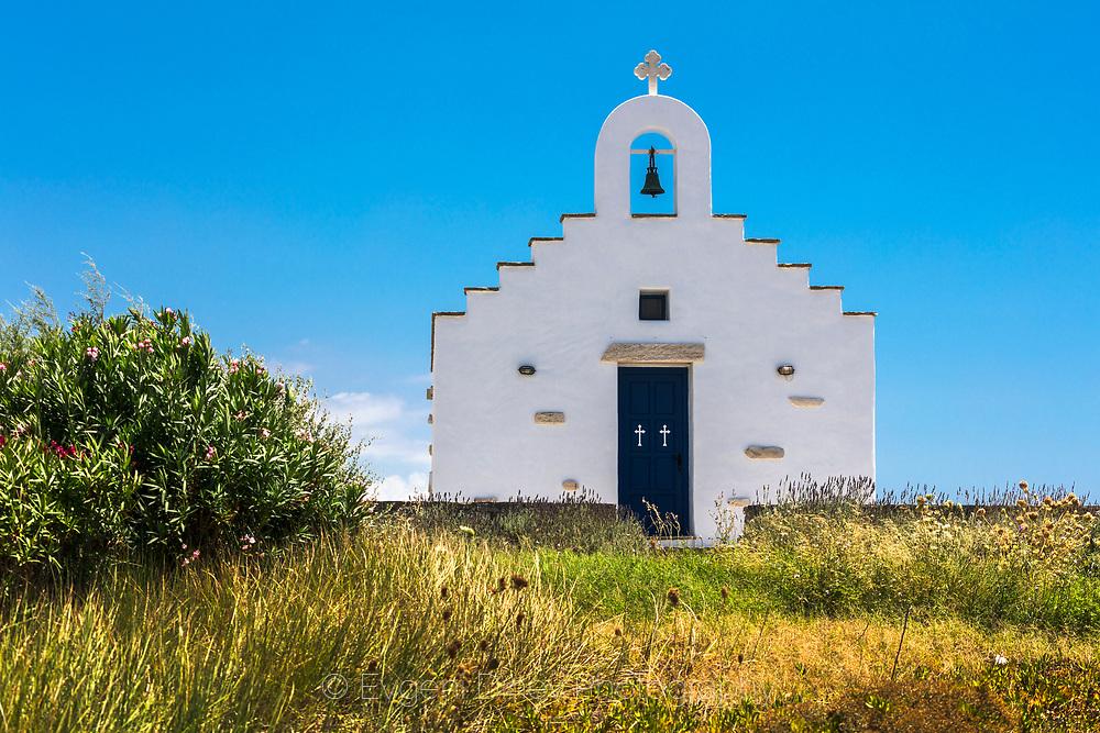 Chrisi Akti, Paros, Greece - July 2021: Othodox Church