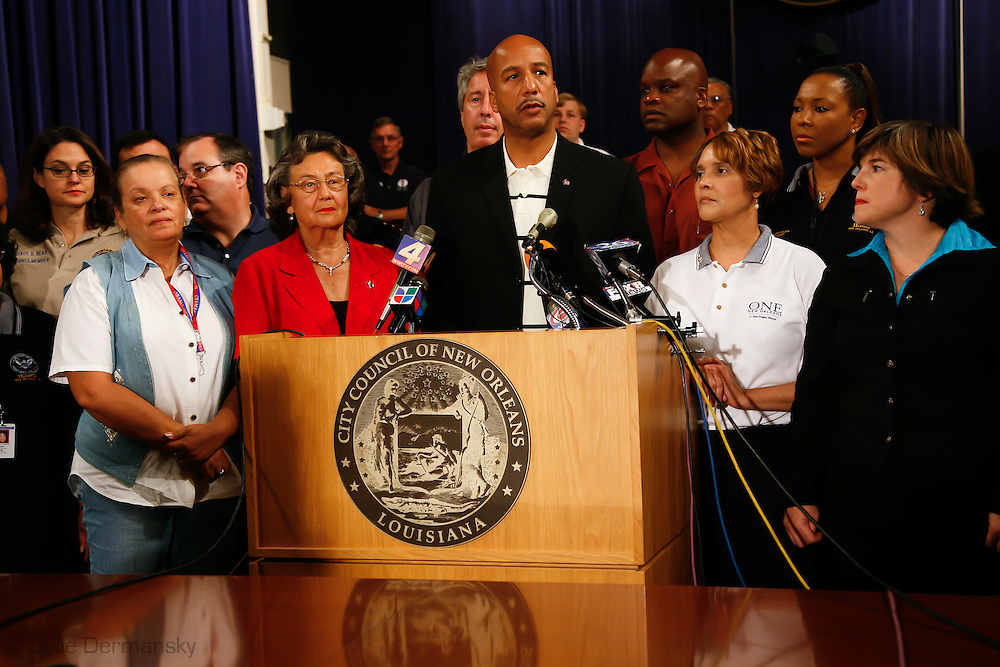 New Orleans Mayor Ray Nagin speaks at a press conference about the evacuation of the city as Hurricane Gustav approached on August 31, 2008. The former mayor's actions while in office are being investigated by Jim Letten, a federal prosecutor in connection with people recently found guilty of bribing public officials in Louisiana.