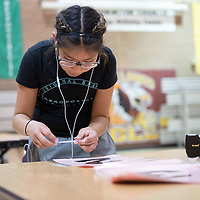 On Thursday in Twin Lakes, 5th grader Madeline Pasquale, 10, helps with the setup by placing numbers on the tables for Family Math Night held at Twin Lakes Elementary School.