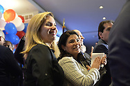 Garden City, New York, USA. November 6, 2018. Nassau County Democrats watch Election Day results at Garden City Hotel, Long Island. On stage were candidates who won election to the New York State Senate, including ANNA KAPLAN elected to represent NYS SENATE SD7. Plus other elected officials joined them, including Hempstead Town Supervisor LAURA GILLEN.