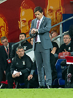Football - 2017 / 2018 _Wales v Austria_FIFA World Cup Qualifier 2018<br /> <br /> Wales manager Chris Coleman looks at his watch  on the touchline--- at Cardiff City Stadium.<br /> <br /> COLORSPORT/WINSTON BYNORTH