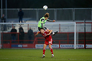 Mads Bech Sørensen of Wimbledon wins a header against Dion Charles of Accrington  during the EFL Sky Bet League 1 match between Accrington Stanley and AFC Wimbledon at the Fraser Eagle Stadium, Accrington, England on 1 February 2020.