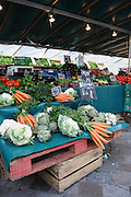 France, Paris, an outdoor, street food market fresh vegetable stall