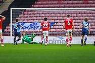 Joe Jacobson of Wycombe Wanderers (3) scores a penalty  to make the score 2-1 during the EFL Sky Bet League 1 match between Barnsley and Wycombe Wanderers at Oakwell, Barnsley, England on 16 February 2019.