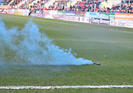 fllares are thrown on the pitch by fans of Wigan Athletic during the Sky Bet Championship match at the New York Stadium, Rotherham<br /> Picture by Graham Crowther/Focus Images Ltd +44 7763 140036<br /> 14/03/2015