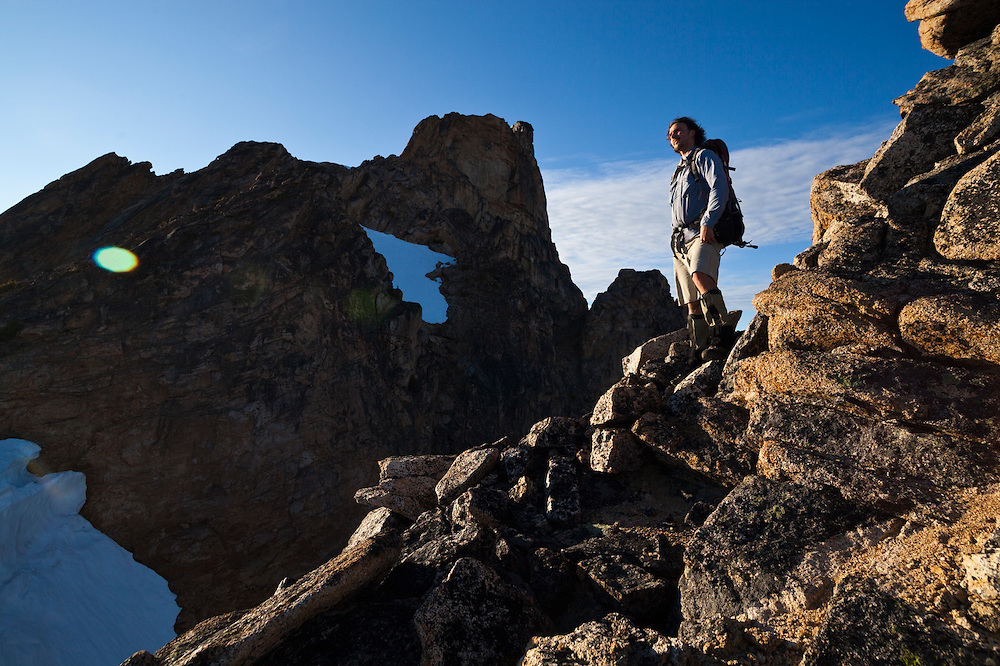 Kevin Steffa looks out from below the summit of Golden Horn, Okanogan National Forest, Washington.