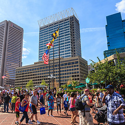 Baltimore, MD, USA - June 16, 2012: There is plenty of activity in the Inner Harbor of the City of Baltimore, Maryland.