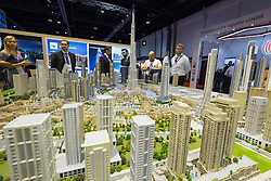 Model of Downtown Dubai with current and proposed property development at property trade fair in Dubai United Arab Emirates