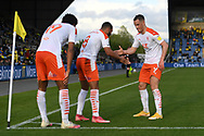 Goal Blackpool forward (on loan from Everton) Ellis Simms (19)scores a goal and celebrates  with Blackpool forward Jerry Yates (9) and Blackpool forward Keshi Anderson (8) during the EFL Sky Bet League 1 play off 1st leg match between Oxford United and Blackpool at the Kassam Stadium, Oxford, England on 18 May 2021.