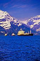 Oil tankers in Prince William Sound, near Valdez, Alaska USA