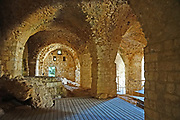 The arched vault at the remains of the 12th century Crusader fortress of Yehiam (Gidin or Jiddin). Western Galilee, Israel