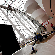 MTB Services Window Washing at the Kauffman Center for the Performing Arts in Brandmeyer Great Hall.