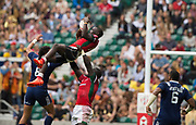 "Twickenham, Surrey United Kingdom. Kenya collect the high ball, Pool A match, USA vs Kenya , at the ""2017 HSBC London Rugby Sevens"",  Saturday 20/05/2017 RFU. Twickenham Stadium, England    <br /> <br /> [Mandatory Credit Peter SPURRIER/Intersport Images]"