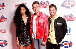 Capital FM Presenters Vick Hope, Roman Kemp and Sonny Jay during the media run on day one of Capital's Jingle Bell Ball with Coca-Cola at London's O2 Arena.
