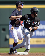 GOODYEAR, ARIZONA - MARCH 06:  Adam Eaton #12 of the Chicago White Sox slides safely into second base against the Cleveland Indians during a spring training game on March 6, 2021 at Goodyear Ballpark in Goodyear Arizona.  (Photo by Ron Vesely) Subject:  Adam Eaton