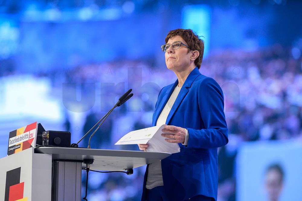 22 NOV 2019, LEIPZIG/GERMANY:<br /> Annegret Kramp-Karrenbauer, CDU Bundesvorsitzende und Bundesverteidigungsministerin, haelt eine Rede, im Hintergrund die Delegierten des Parteitages auf einem Screen, CDU Bundesparteitag, CCL Leipzig<br /> IMAGE: 20191122-01-118<br /> KEYWORDS: Parteitag, party congress