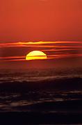 Sunset over the ocean on the Oregon Coast near Canoon Beach.