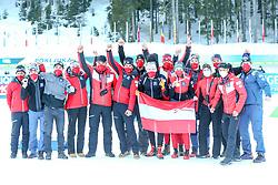 Team Austria celebrate after the IBU World Championships Biathlon 15 km Mass start Men competition on February 21, 2021 in Pokljuka, Slovenia. Photo by Vid Ponikvar / Sportida
