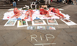 © Licensed to London News Pictures. 13/06/2015. London, UK. Animal welfare activists gather with placards and dressed up in clothing resembling skinned animals at Piccadilly Circus, central London, to demonstrate for the closing down of slaughterhouses. London Animal Rights claim that every year 60 billion land animals and more than 1000 billion aquatic animals are killed without necessity. Photo credit : LNP