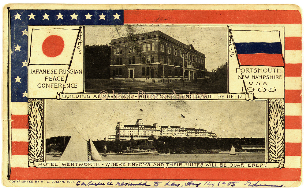 Russo-Japanese War 1904-1905: Venue for the Peace Conference, Portsmouth, New Hampshire, USA. Postcard 1905. Flag