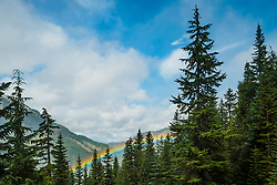Rainbow in valley, viewed from Crystal Mountain